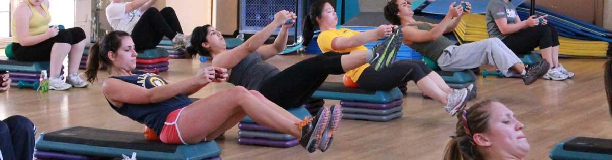 students doing Core conditioning excercise