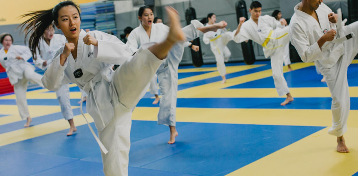 Student Kicking in Taekwondo class