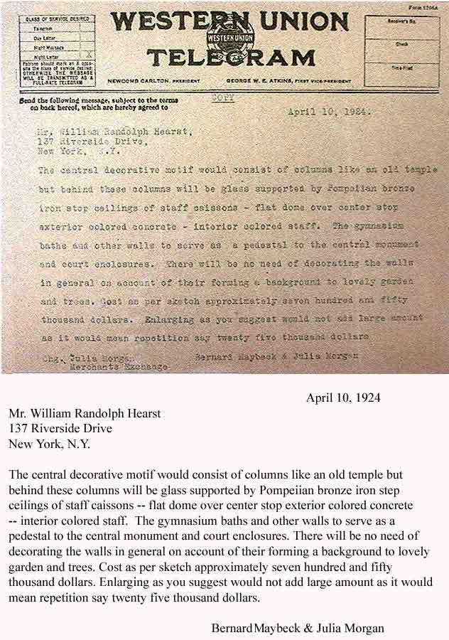 April 10, 1924 telegram to William Randolph Hearst from architects Bernard Maybeck and Julia Morgan