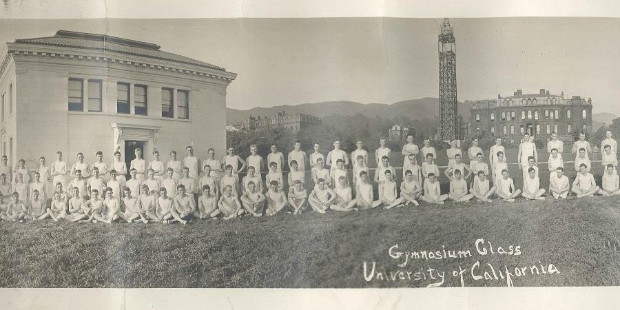 Men's Gym Class circa 1911 in front of South Hall during the construction of the Campanile (Sather Tower)