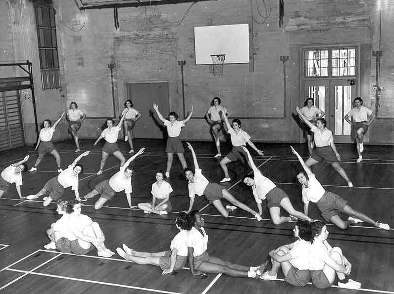 Women's Stunt Tumbling - 220 Hearst Gym 1940's