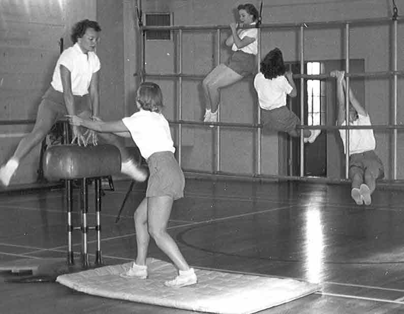 Women's Tumbling (Gymnastics) class. Late 1940's