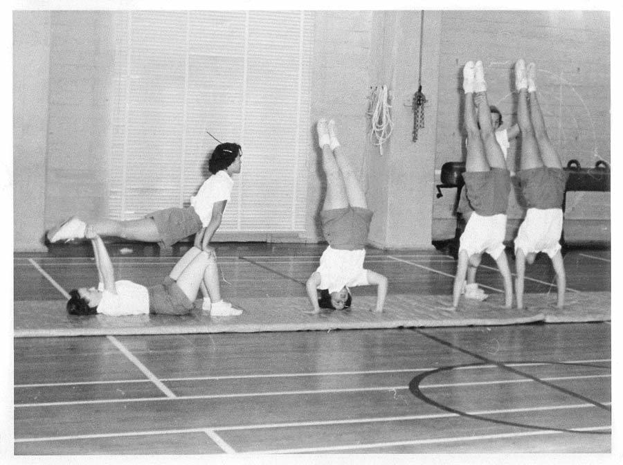 Women's Tumbling (Gymnastics) class - 220 Hearst Gym Late 1940's
