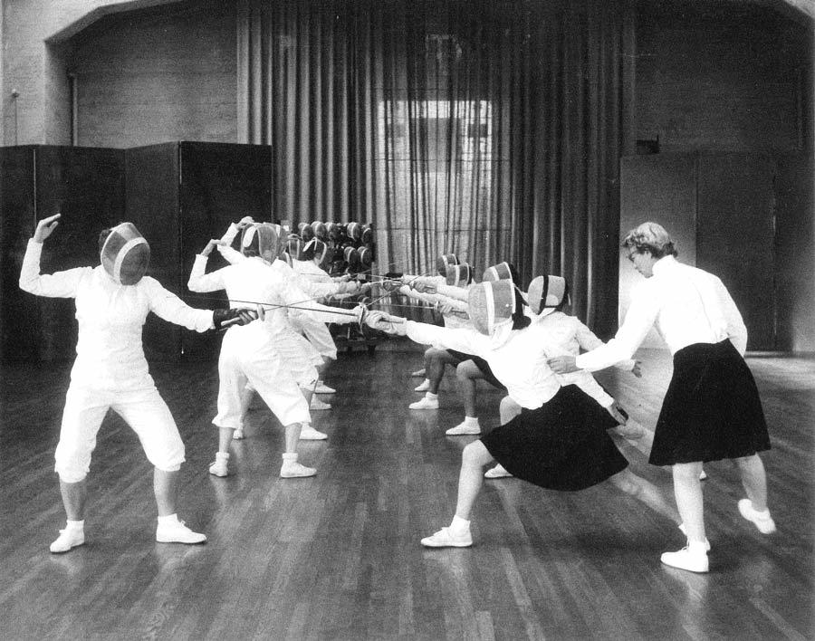 Fencing Class - Late 1940's or early 1950's. Frederica Bernard Instructor.