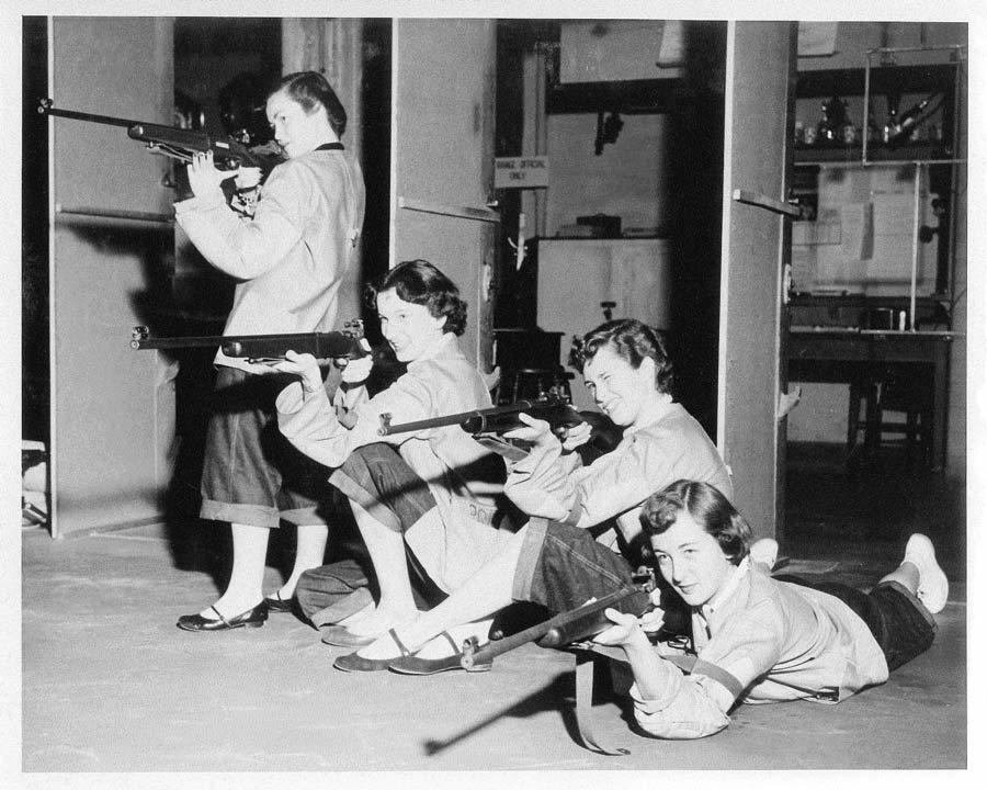 Riflery in Hearst Gym Basement. Late 1940's or early 1950's.The rifle range was converted in the 1980's to the Undergraduate Anthropology Laboratories