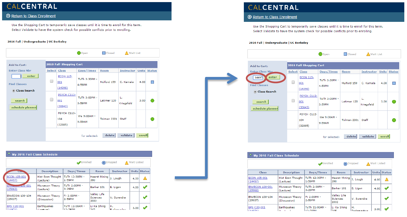 Find the class course number that you need to enroll into, input under Enter Class Nbr, then click enter